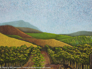 "Original Oil Painting  -  Napa Valley vines in the fall   -  18""H x 24""W x 5/8""D"