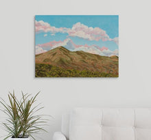 Load image into Gallery viewer, Sunlit Mt Tamalpais, the landmark of Marin County, with a clear blue sky, and rows of trees and their shadows on a white wall, over a white couch