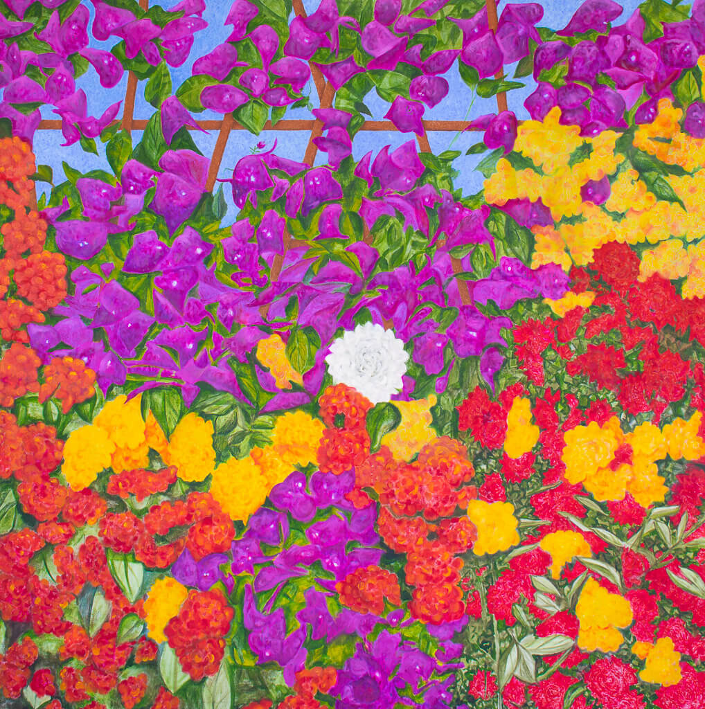A painting, by fine artist Nancy McLennon,  of blooming spring floral garden filled with bougainvillea, red roses, yellow roses, and hydrangea blooms on a background of wooden lattice and blue sky