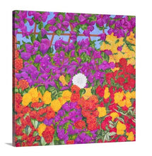 Load image into Gallery viewer, A side view of painting, by fine artist Nancy McLennon,  of blooming spring floral garden filled with bougainvillea, red roses, yellow roses, and hydrangea blooms on a background of wooden lattice and blue sky