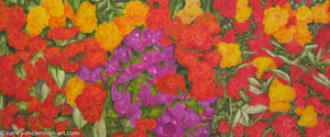 A detail of a painting, by fine artist Nancy McLennon,  of blooming spring floral garden filled with bougainvillea, red roses, yellow roses, and hydrangea blooms on a background of wooden lattice and blue sky
