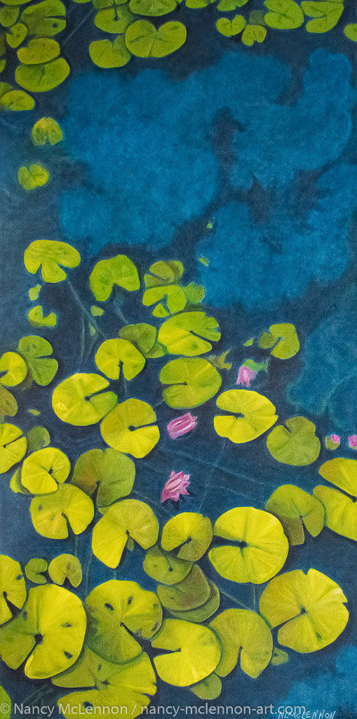 A painting, by fine artist Nancy McLennon, of a deep blue & aqua blue pond with floating golden yellow lily pads and purple flower blooms