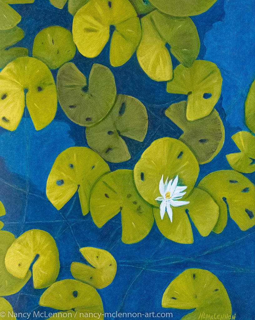 A painting, by fine artist Nancy McLennon, of a deep blue & aqua blue pond with floating golden yellow lily pads and white flower blooms