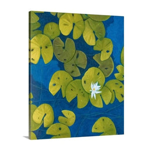 A side view of a painting by fine artist Nancy McLennon, of a deep blue & aqua blue pond with floating golden yellow lily pads and white flower blooms
