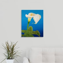Load image into Gallery viewer, A painting, by fine artist Nancy McLennon, of a single White calla lily on blue background hanging over a couch