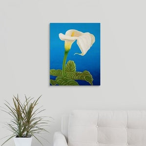 A painting, by fine artist Nancy McLennon, of a single White calla lily on blue background hanging over a couch