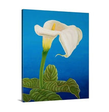 Load image into Gallery viewer, A side view of a painting by fine artist Nancy McLennon, of a single White calla lily on blue background