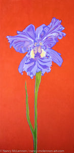 A painting, by fine artist Nancy McLennon, of a single Iris in full bloom on red background