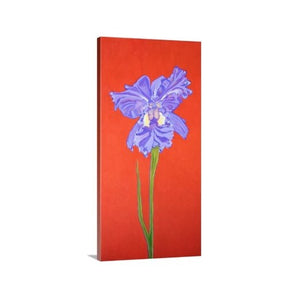A side view of a painting by fine artist Nancy McLennon, of a single Iris in full bloom on red background