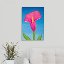 Load image into Gallery viewer, A painting, by fine artist Nancy McLennon, of a single Rosy pink lily on sky blue background hanging over a couch
