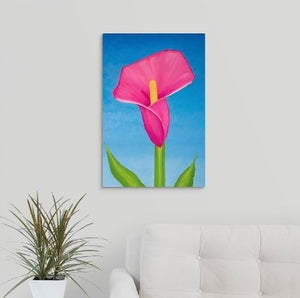 A painting, by fine artist Nancy McLennon, of a single Rosy pink lily on sky blue background hanging over a couch