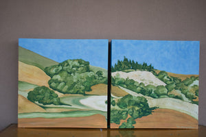 A diptych landscape painting of golden and straw-colored hillside in Marin County, with rows of trees under a blue sky
