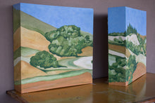 Load image into Gallery viewer, A diptych landscape painting of golden and straw-colored hillside in Marin County, with rows of trees under a blue sky