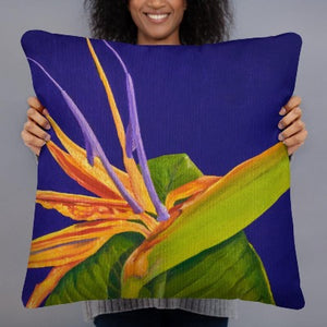 Decorative Pillow - Bird of Paradise on purple - FREE SHIPPING