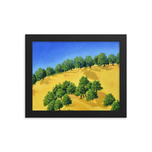 Load image into Gallery viewer, Framed poster - Lake Berryessa hills, CA in summer - FREE SHIPPING