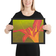 Load image into Gallery viewer, Framed print – Ruby spider daylily on green - FREE SHIPPING