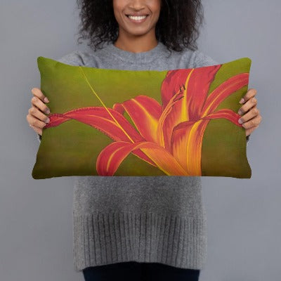 Decorative Pillow - Ruby Spider Daylily - FREE SHIPPING