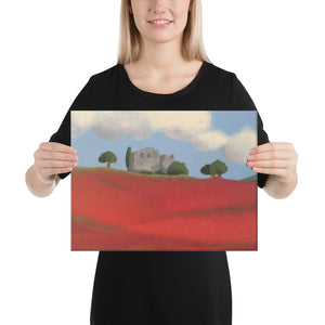 Canvas Print - Farm fields with poppies - FREE SHIPPING