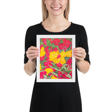 Load image into Gallery viewer, Framed print - Roses and mop-heads - FREE SHIPPING