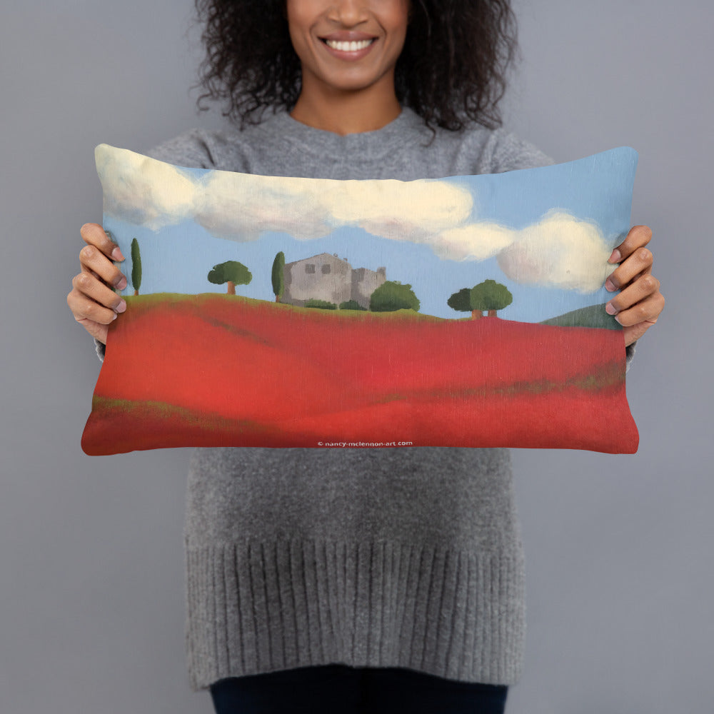 Decorative Pillow - Farm hills with poppies