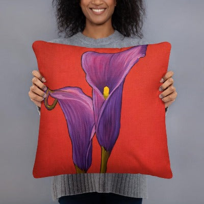 Decorative Pillow - Purple Calla Lilies - FREE SHIPPING