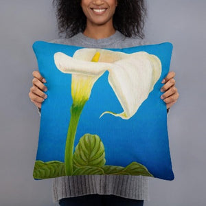 Decorative pillow - White Calla lily on blue - FREE SHIPPING