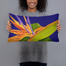 Load image into Gallery viewer, Decorative Pillow - Bird of Paradise on purple - FREE SHIPPING