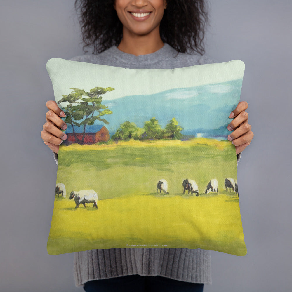 Decorative Pillow - Oregon sheep farm with red barn