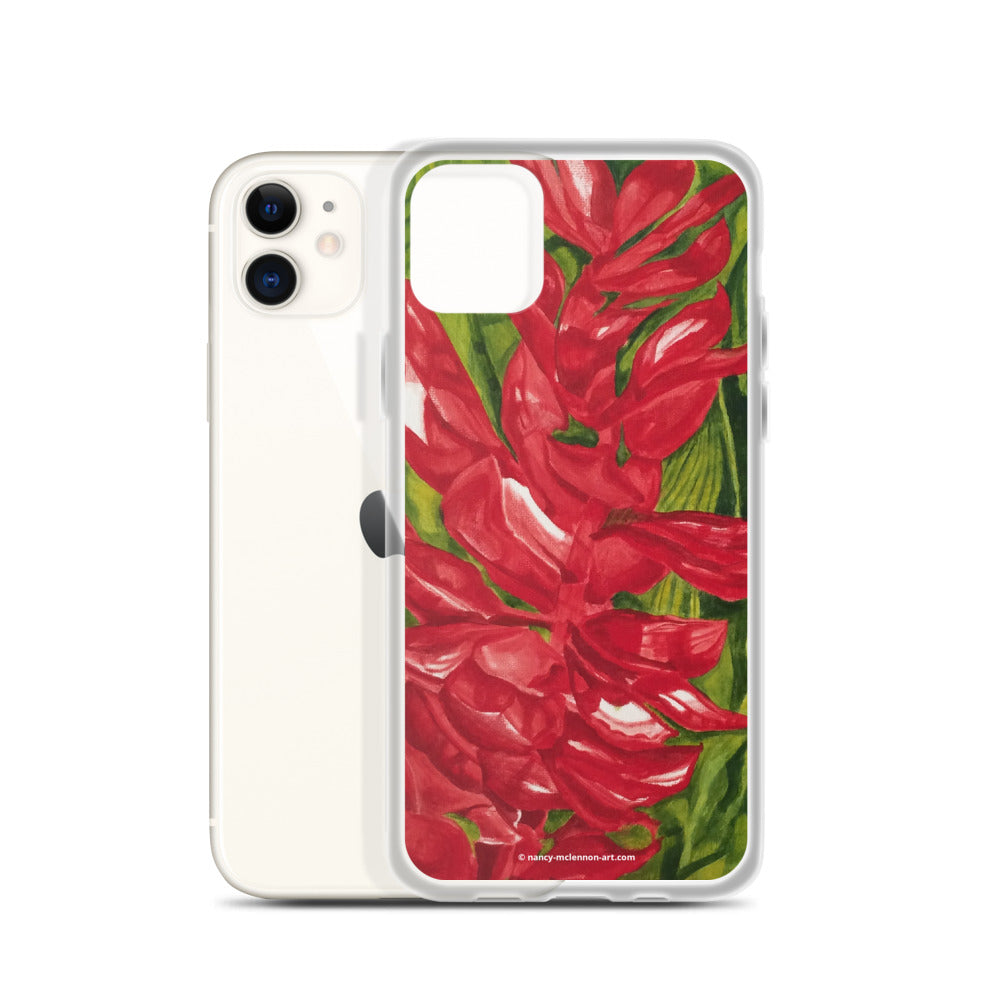 iPhone Case - Red ginger floral - FREE SHIPPING