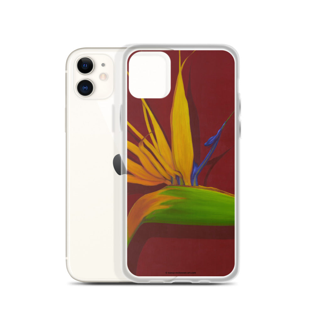 A painting, by fine artist Nancy McLennon, of a green, yellow and purple Bird of Paradise flower  on a dark red background printed on an iPhone cell phone case.