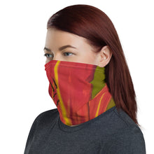 Load image into Gallery viewer, Woman wearing a knit fabric neck gaiter /face cover with a colorful floral painting, by fine artist Nancy McLennon, printed on the fabric