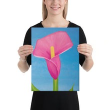 Load image into Gallery viewer, Canvas Print - Rosy Pink lily on blue - FREE SHIPPING