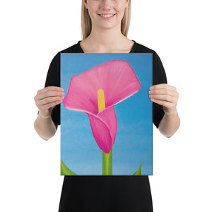 Canvas Print - Rosy Pink lily on blue - FREE SHIPPING