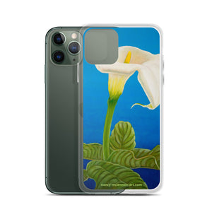 iPhone Case - White calla on blue - FREE SHIPPING