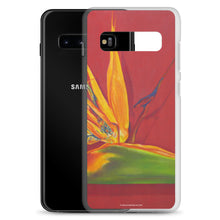 Load image into Gallery viewer, A painting, by fine artist Nancy McLennon, of a green, yellow and purple Bird of Paradise flower on a rust red background printed on a Samsung cell phone case.
