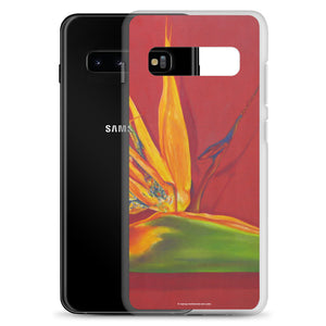 A painting, by fine artist Nancy McLennon, of a green, yellow and purple Bird of Paradise flower on a rust red background printed on a Samsung cell phone case.