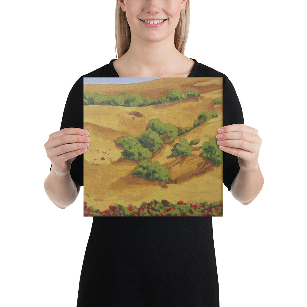 Canvas Print - Sonoma hills with red roses - FREE SHIPPING