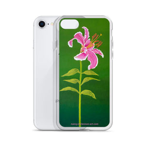 iPhone Case - Stargazer lily on green - FREE SHIPPING