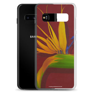 A painting, by fine artist Nancy McLennon, of a green, yellow and purple Bird of Paradise flower on a dark red background printed on a Samsung cell phone case.