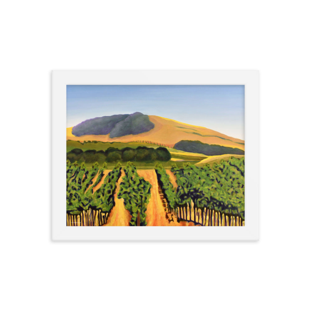 Framed poster - Lush purple vineyards in golden hills - FREE SHIPPING