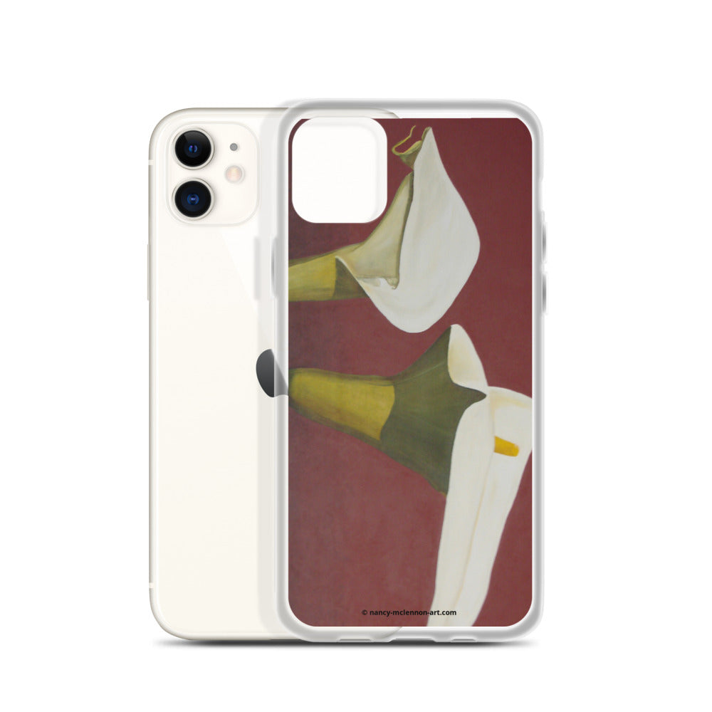iPhone Case - White Calla Lilies on red - FREE SHIPPING