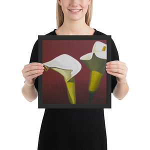 Framed Print - White Calla lilies on red - FREE SHIPPING