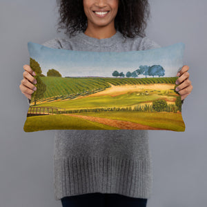 Decorative Pillow - Sonoma Chardonnay vineyard with footbridge - FREE SHIPPING