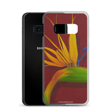 Load image into Gallery viewer, A painting, by fine artist Nancy McLennon, of a green, yellow and purple Bird of Paradise flower on a dark red background printed on a Samsung cell phone case.