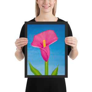 Framed Print - Rosy Pink Lily on blue - FREE SHIPPING