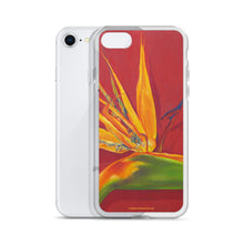 Load image into Gallery viewer, A painting, by fine artist Nancy McLennon, of a green, yellow and purple Bird of Paradise flower on a rust red background printed on an iPhone cell phone case.