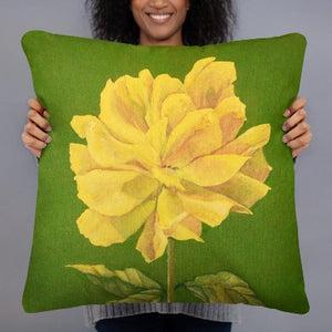 Decorative Pillow - Yellow Rose - FREE SHIPPING