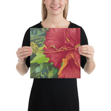 Load image into Gallery viewer, Canvas Print - Deep red hibiscus - FREE SHIPPING