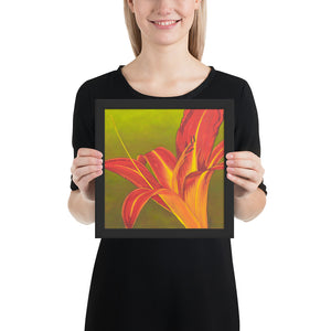 Framed print – Ruby spider daylily on green - FREE SHIPPING