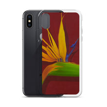 Load image into Gallery viewer, A painting, by fine artist Nancy McLennon, of a green, yellow and purple Bird of Paradise flower on a dark red background printed on an iPhone cell phone case.